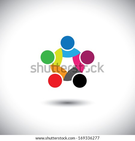 Colorful abstract concept vector of people unity, solidarity. This graphic illustration can also represent employee meetings, kids playing, children together, close friendship & trust, loyalty, etc - stock vector