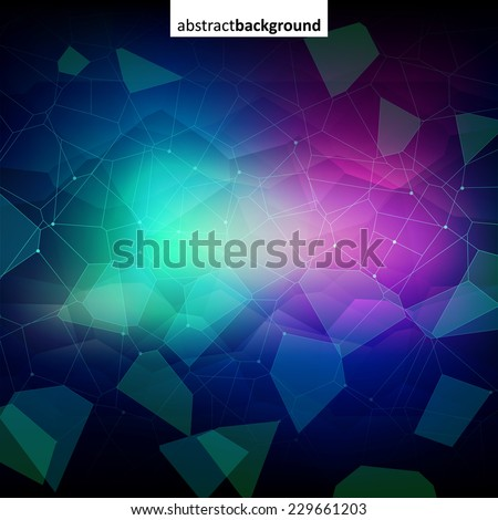 Colorful abstract dark crystal background. Ice, glass or jewel structure. Blue and purple bright colors. - stock vector