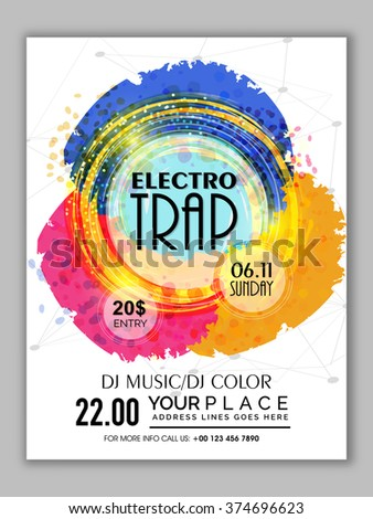 Colorful abstract design decorated Flyer, Banner or Template for Electro Trap Music Party celebration. - stock vector