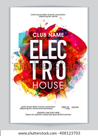 Colorful abstract design decorated, Musical Party Template, Dance Party Flyer, Night Party Banner or Club Invitation presentation with date and time details. - stock vector