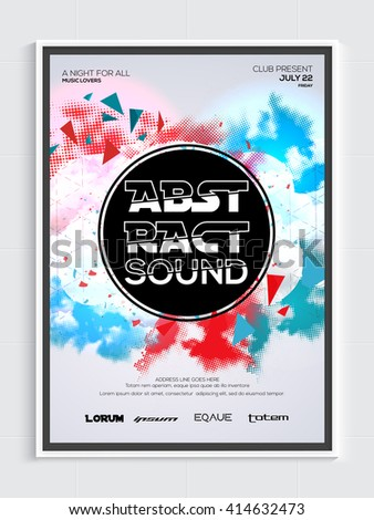 Colorful abstract design decorated, Musical Party Template, Dance Party Flyer, Night Party Banner or Club Invitation. - stock vector