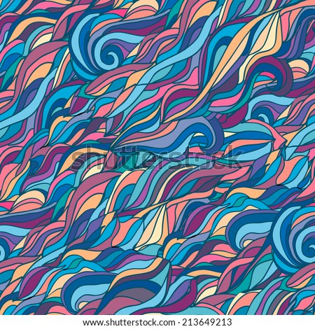 Colorful abstract doodle seamless pattern waves and clouds - stock vector