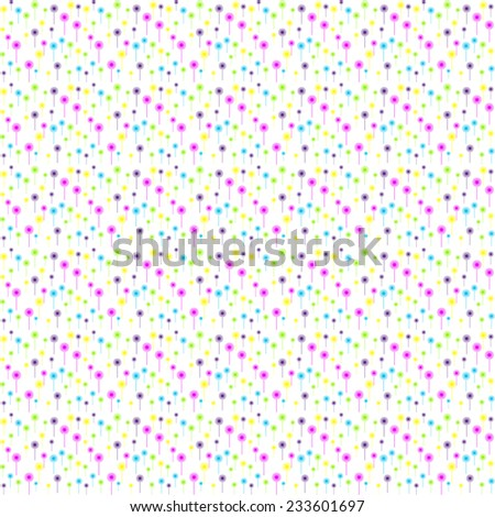 Colorful abstract flower pattern with dandelion  - stock vector