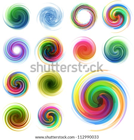 Colorful abstract icon set. Dynamic flow illustration. Swirl collection. - stock vector