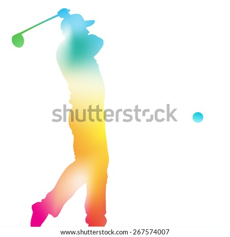 Colorful abstract illustration of a Golfer driving high to hit a hole in one in this Championship Tournament through a haze of summer blurs. - stock vector
