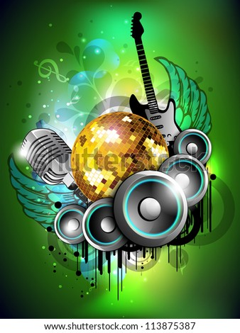 Colorful abstract musical background with loud speakers and guitar and disco ball. EPS 10. - stock vector