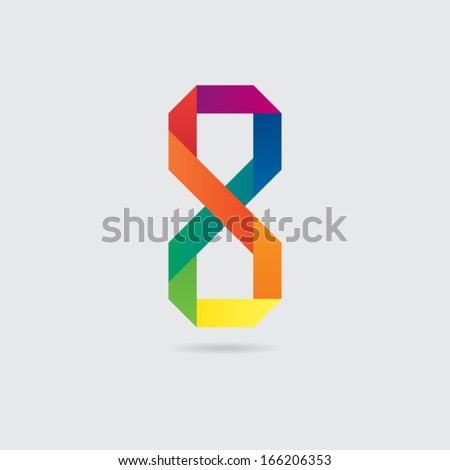 Colorful Abstract Number Eight Symbol - stock vector