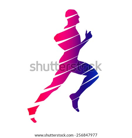 Colorful abstract runner - stock vector