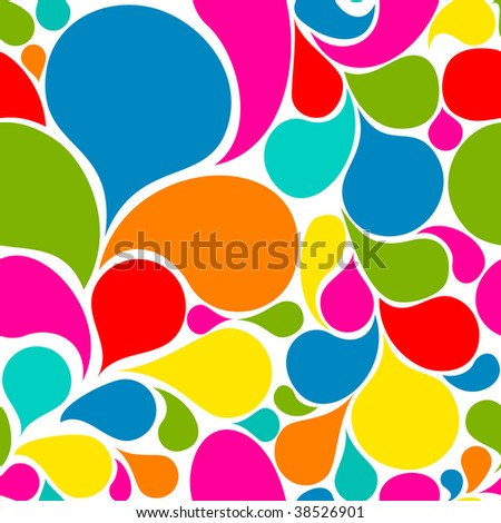 Colorful abstract seamless pattern made from various spatters - stock vector