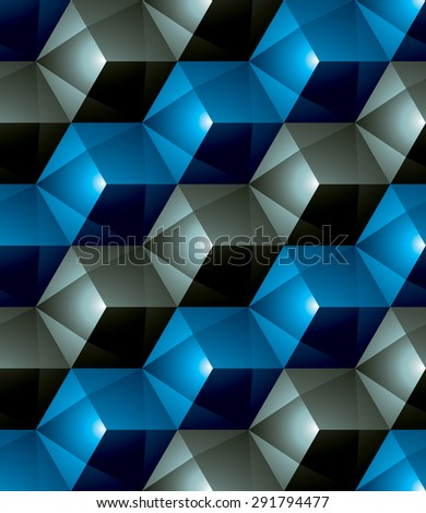 Colorful abstract textured geometric seamless pattern. Vector bright textile backdrop with three-dimensional cubes and squares. Graphic contemporary futuristic covering. - stock vector