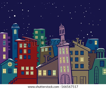 colorful abstract urban landscape in winter night, vector illustration - stock vector