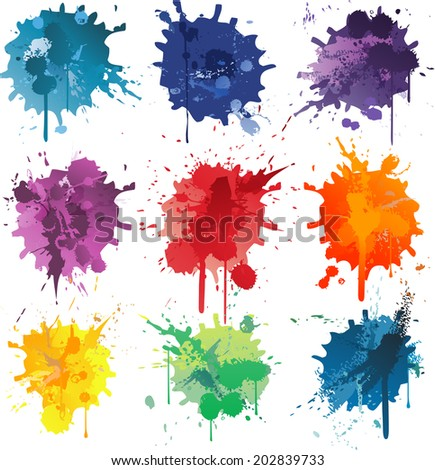 Colorful Abstract vector ink paint splats - stock vector