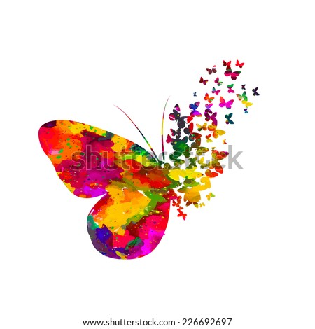 Colorful abstract watercolor butterfly on a white background. Vector  - stock vector