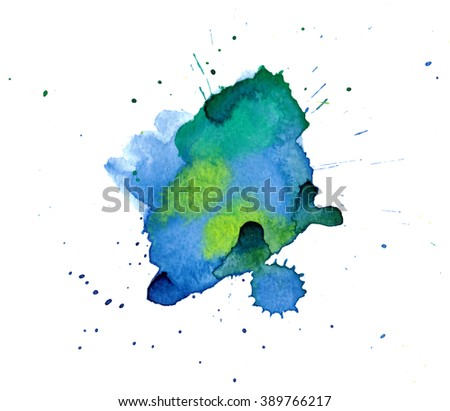 Colorful abstract watercolor stain with splashes and spatters. Modern creative background for trendy design. - stock vector