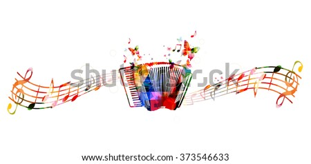 Colorful accordion design with butterflies - stock vector
