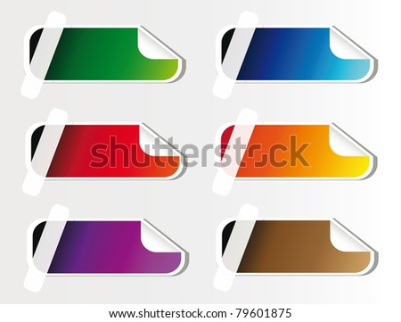 colorful advertising sticker isolated over white background, you can put here your own text - stock vector