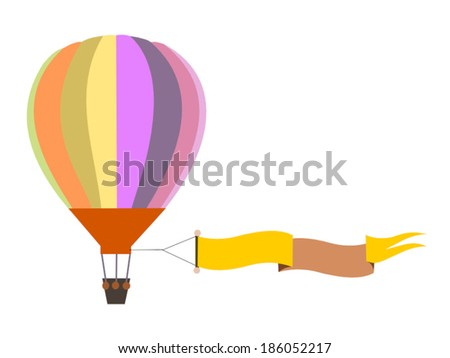 colorful air balloon with banner - stock vector