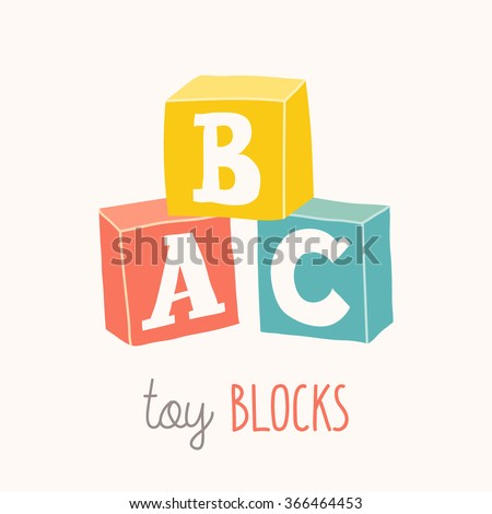 Colorful alphabet cubes with A,B,C letters.  Isolated vector eps 10 illustration on white background. - stock vector