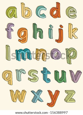 Colorful alphabet. 3D lowercase letters. - stock vector