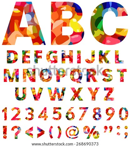 Colorful alphabet from A to Z with numbers and symbols - stock vector
