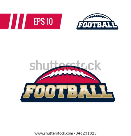 Colorful american football sport logo label with bonus one color version on transparent background. Vector abstract illustration. - stock vector
