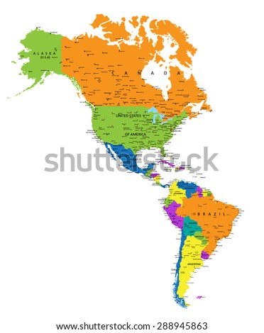 Colorful Americas political map with clearly labeled, separated layers. Vector illustration. - stock vector