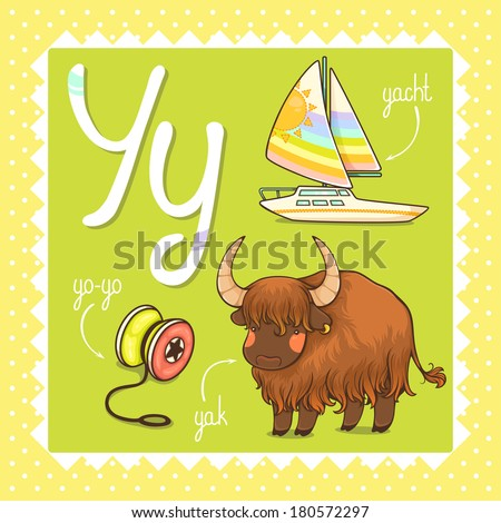 Colorful and cute kids alphabet: letter Y - stock vector