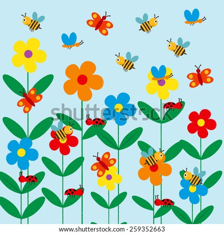 Colorful and cute kids background with flowers, bee and butterfly - stock vector
