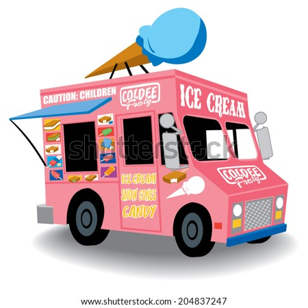 Colorful and Playful Ice Cream Truck with Ice Cream cone on top - stock vector