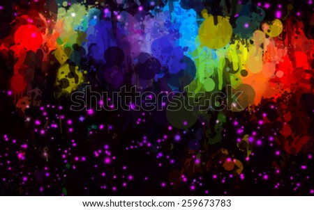 Colorful and purple stars brush strokes on black background. Vector version - stock vector