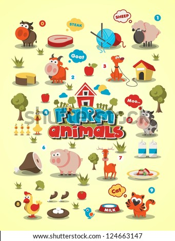 colorful animal set, vector background,animal info graphic - stock vector