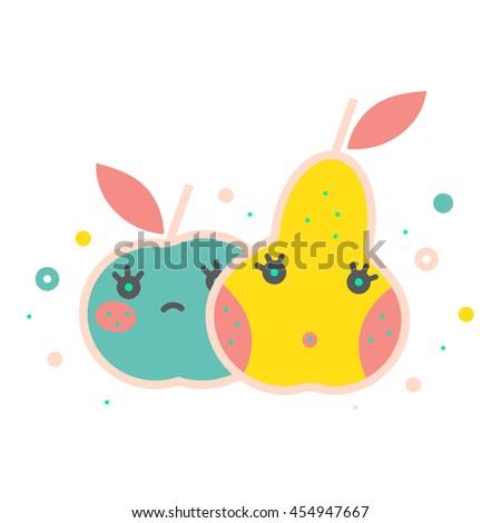 Colorful apple illustration, vector. Modern creative design. Bright decorative illustration. Stylish food and drink vector. Cute, tasty apple, pear. Healthy lifestyle, vegan, vegetarian, fruit diet. - stock vector