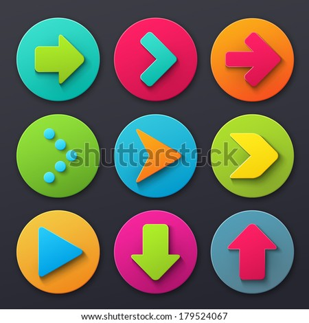 Colorful arrow sign icons - stock vector