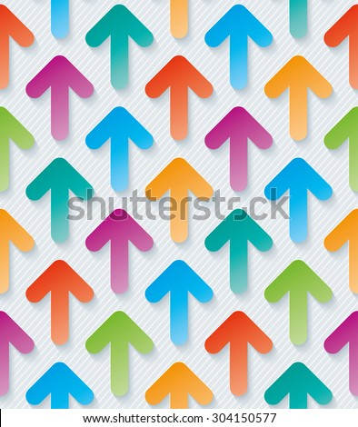 Colorful arrow wallpaper. Seamless background with 3D effect. Vector EPS10. - stock vector