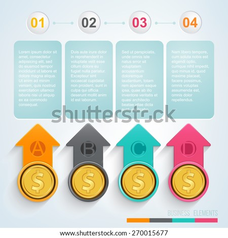 Colorful arrow with gold coins. Vector illustration. - stock vector