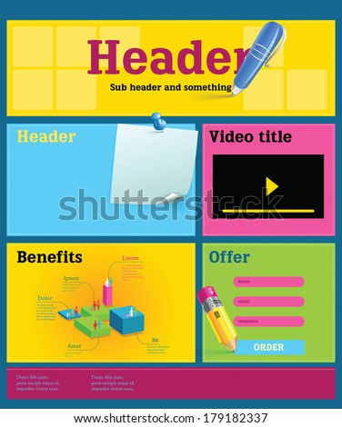 Colorful, attractive web landing page with detailed elements. EPS10 - stock vector