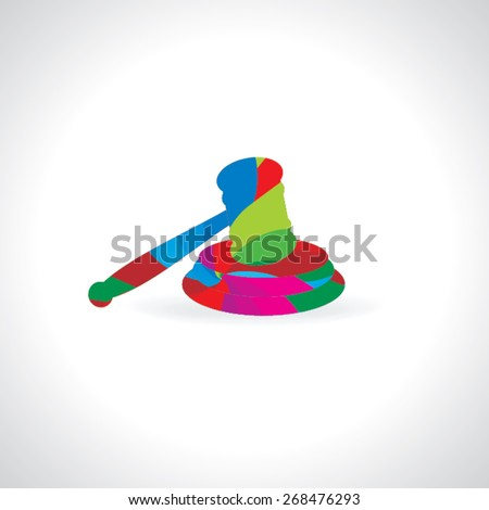 colorful auction hammer for justice vector illustration  - stock vector