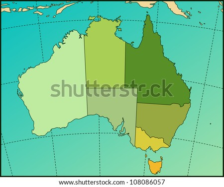 Colorful AUSTRALIA Map. Cartography collection. Vector illustration. - stock vector