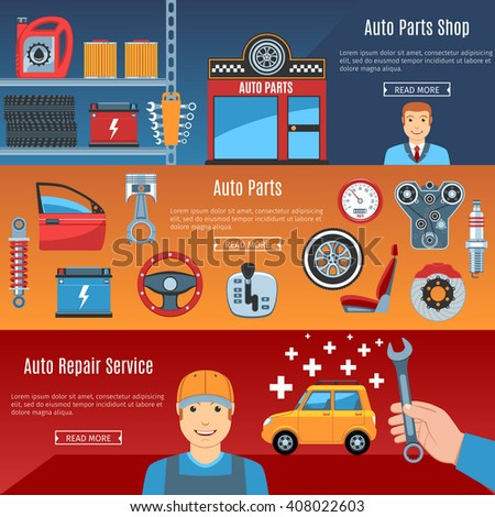 Colorful Auto Service Flat Horizontal Banners Set. Auto Parts. Car Repair Service. Automobile Parts Shop. Auto Parts Objects And Web Elements Collection. Vector Illustration - stock vector