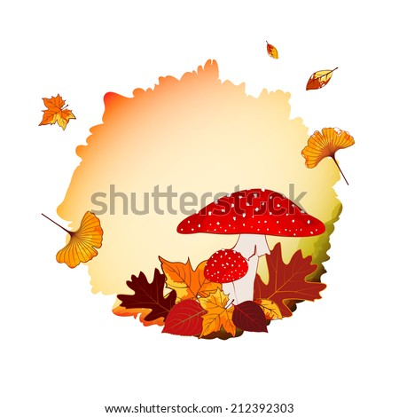 Colorful Autumn Background with Leaf and Mushroom - stock vector