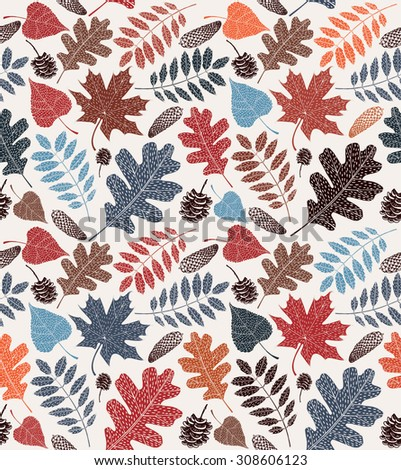 Colorful autumn leaves seamless pattern - stock vector