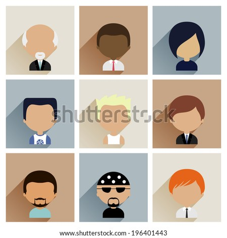 Colorful Avatars Icons Set in Flat Style - stock vector