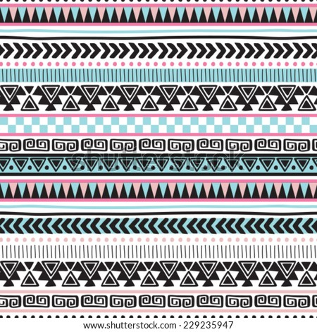colorful aztec vintage pattern vector illustration - stock vector