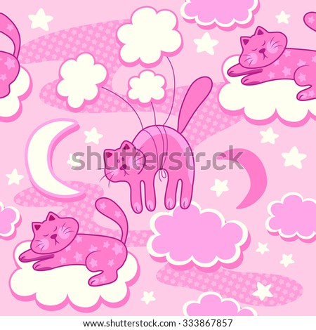 Colorful baby seamless pattern with cats, clouds and stars.. Vector background - stock vector