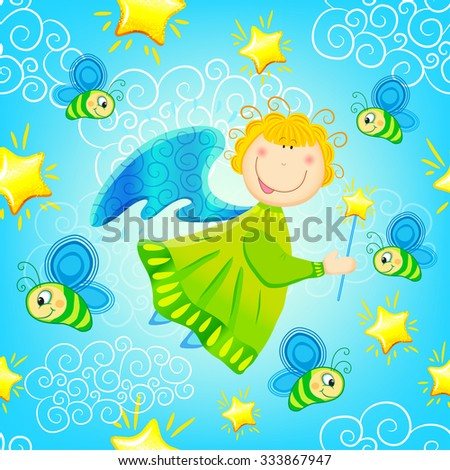 Colorful baby seamless pattern with fairies, angels, butterflies and stars. Vector background - stock vector