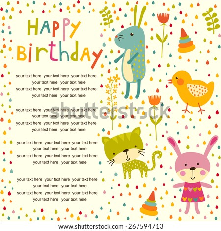 Colorful Baby shower background with cat, chicken and rabbit. Happy birthday card. - stock vector