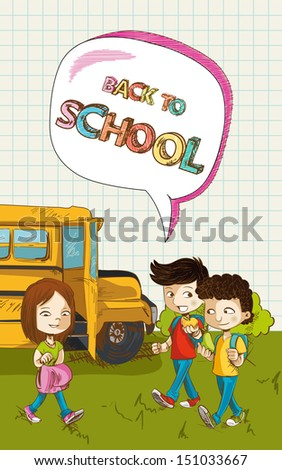 Colorful back to school text, cartoon kids school bus social media bubble illustration. Vector file layered for easy editing. - stock vector