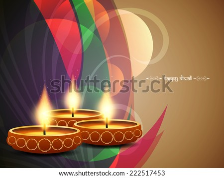 colorful background design for diwali festival with beautiful lamps. vector illustration - stock vector