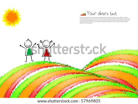 Colorful background,post-card with a happy child. Vector illustration. - stock vector
