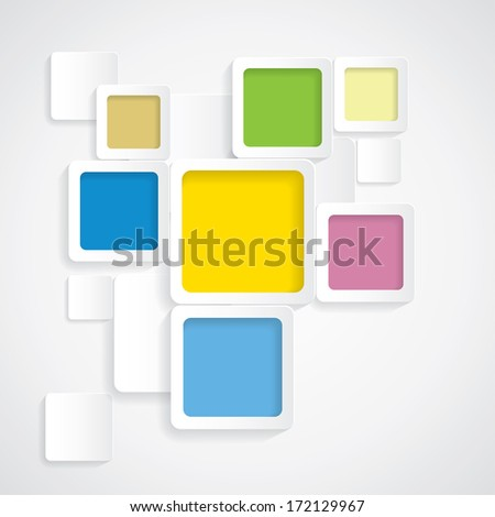 colorful background rounded squares with borders - vector graphic. This backdrop graphic is made of orange, yellow, pink, red, green, off-white & blue papers placed next each other with subtle shadows - stock vector